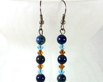 Beaded Earrings / Dangle Earrings / Blue Earrings / Crystal Earrings / Blue Dangle Earrings / Crystal Earrings /  Gemstone Earrings