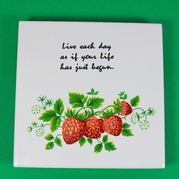 Hand Crafted Ceramic Trivet with Strawberries-Reserved for Marquita Jones