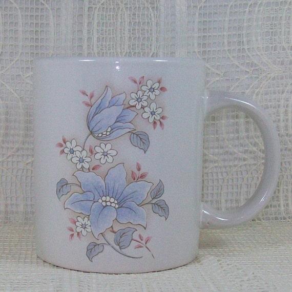 WhiteMug with Blue Flowers and Serenity Prayer -Handmade Ceramics