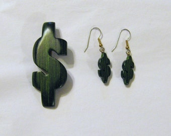 Dollar Wooden Earrings And Pin Set Hand Carved