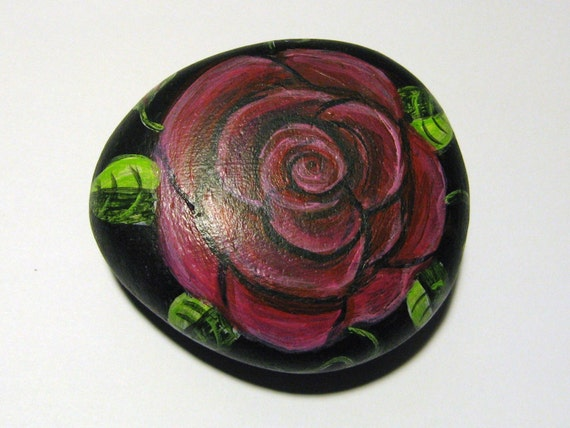 Stone Rose Painted River Rock