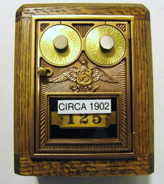 Antique Wooden Post Office Box Door Bank\/Safe