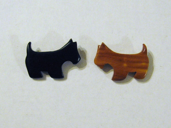 Two Scotti Dog Pins Made of Wood