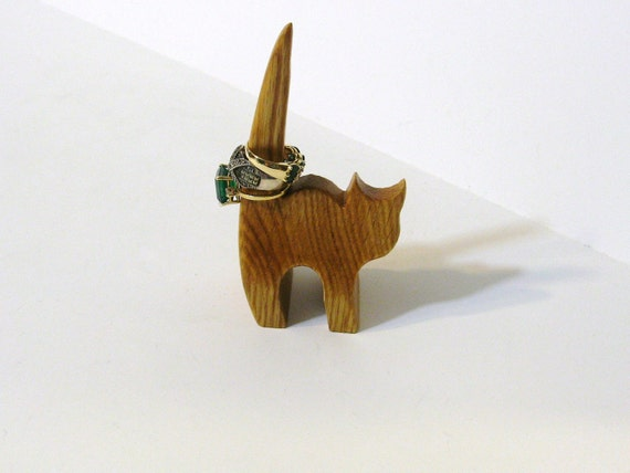 Cat Ring Holder  Made Of Oak Wood