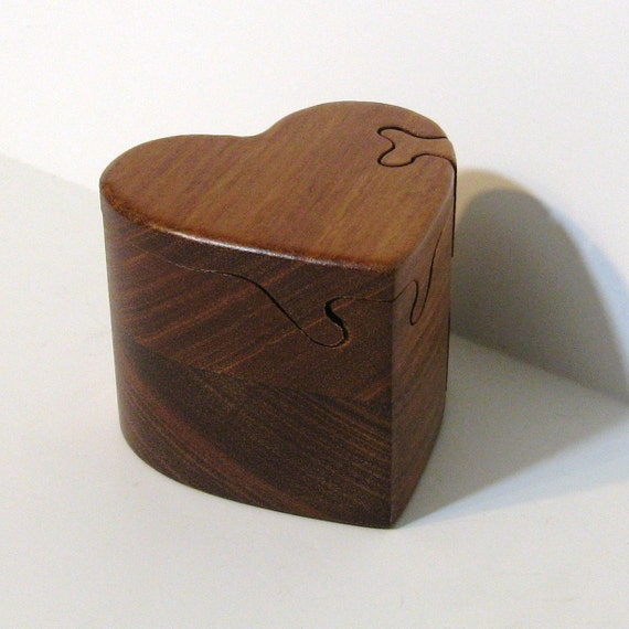 Heart Puzzle Box Made From Red Mahogany Wood