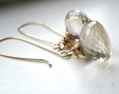 Reserved for D - Golden Rutilated Quartz Earrings, 14k Gold Filled Gemstone Drop Earrings - A Roll In The Hay