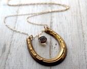 Horseshoe Necklace In 14K Gold Filled, Beer Quartz Charm, Long Necklace - Delgado Necklace