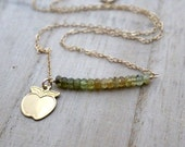 Green Garnet Apple Necklace, Ombre Bar Necklace in 14K Gold Filled, Fall Fashion - Pippin