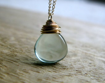 Fluorite Necklace In Gold Filled, Wire Wrapped AAA Gemstone, Mint Green Pendant , Spring Fashion - Seabreeze