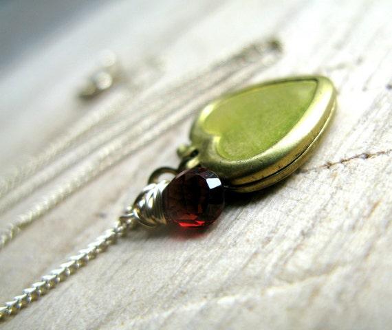 Garnet Heart Locket Necklace In 14K Gold Filled, Brass Locket, Wire Wrapped, Gifts Under 50
