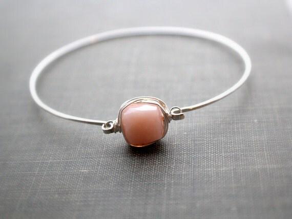 Opal Sterling Silver Bracelet, Bezel Style Wire Wrap, Silver Cuff, Minimalist Fashion