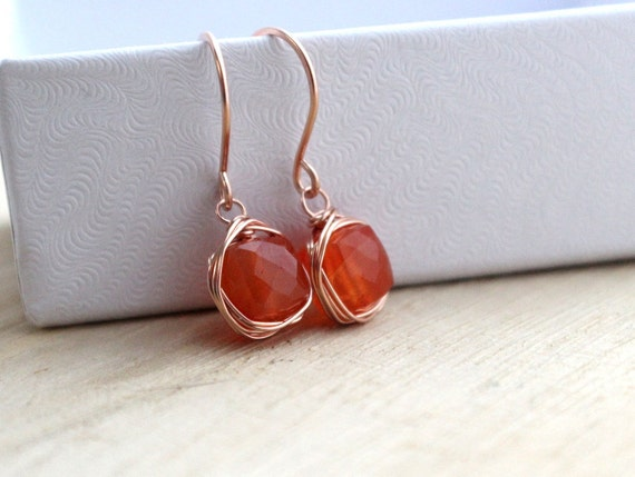 Carnelian Rose Gold Bezel Wrapped Earrings, Tangering Orange Fashion, Summer Fashion - Chiclets