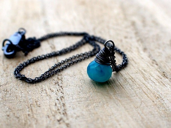 Electric Blue Pendant Necklace, Sterling Silver, Blue Chalcedony Gemstone, Handmade Gift Ideas