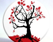 Red and Black Tree Mirror - Large Mirror with Storage Bag - Sale Priced