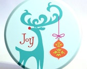 3.5 inch Turquoise Reindeer and Ornament Large Pocket Mirror with Storage Bag - Half Price Sale