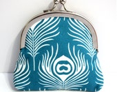 Teal Blue and White Peacock Feather Coin Purse with Frame