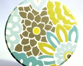 Pocket Mirror in Blue, Yellow, and Gray Floral Print - 3.5 inches Large