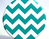 Chevron Print Mirror in Turquoise and White - 3.5 inch Pocket Mirror with Turquoise Storage Bag