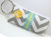 Gray Chevron Clutch with Silve Bangle and Turquoise and Yellow Trim- Chevron Ruffle Wristlet