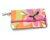 Floral Cell Phone Wallet - Pink, Orange, Blue, Green Flower Print - Smart Phone Wallet - Custom Size