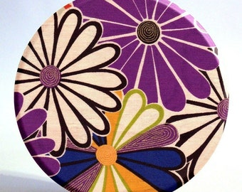 3.5 inch Purple, Navy Blue, and Gold Asian Flower Pocket Mirror with Storage Bag - half price sale