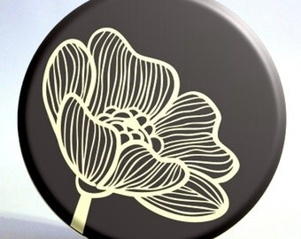Pocket Mirror with Black and Cream Flower and Turqiouse Storage Bag - 3.5 Inches
