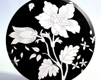 3.5 inch Black and White Flower Large Pocket Mirror - On Sale Now