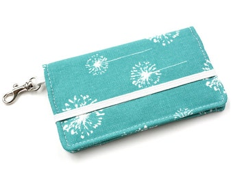 Dandelion Cell Phone Wallet - Turquoise and White Dandelion Print - Smart Phone Wallet - Custom Size