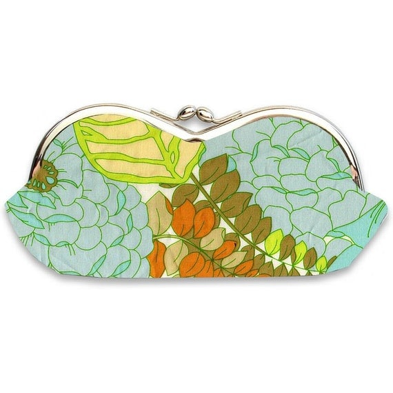 Sunglasses or Eyeglasses Case in Blue and Green Floral - Frame Sunglass Case