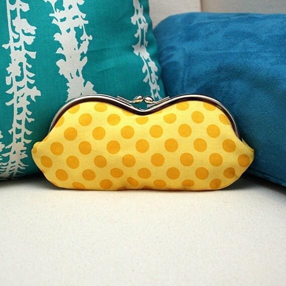 Dark Yellow and Lemon Yellow Polka Dot Frame Glass Case