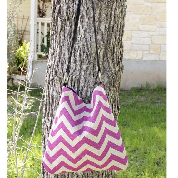 Chevron Tote Handbag - Purple and Grayish Tan Linen  Chevron Print Bag With Faux Leather Shoulder Straps