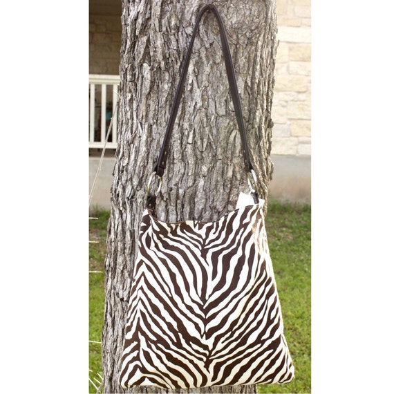 Handbag Purse - Brown Zebra Print Canvas Shoulder Bag - Handbag with Brown Faux Leather Straps