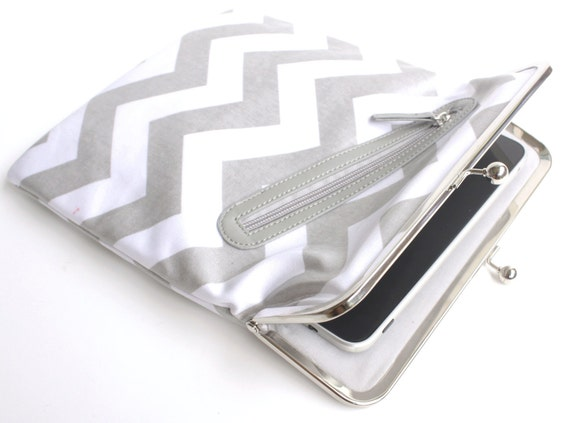 SALE - Gray Chevron iPad Case or Sleeve with Kisslock Frame - iPad Case or Clutch - Notebook Clutch - Gray Chevron Laminated Canvas