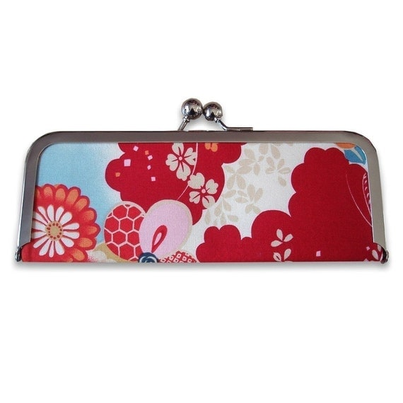 Red Asian Blossom Frame Clutch Wallet
