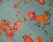 Vintage 1970s Victorian Children flying kites and Holding Umbrellas Fabric 1 yard