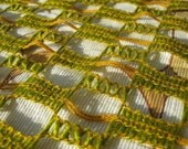 Textile Fabric Vintage 6 Yards 1960s 1970s Fun Fuggley Olive Green Net Textile 1 yard Buy 2 get 3rd half price