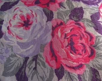 Vintage 1970s 1960s Hot pink Purple Frida Gypsy Rose Fabric Yard