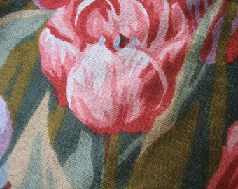 Vintage 1970s Tip Toe Through the Tulips and Irises Upholstrey Velvet Like Fabric Yard