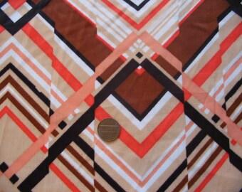 Vintage Red Orange Black 1970s Art Deco 1 yard Flash Back Print Polyblend Fashions