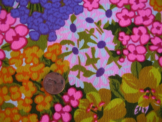 Vintage 1960s Alexander Henry Flower Power Flowers Barkcloth Fabric 2 1/2 yards Reserved for Retro Girl