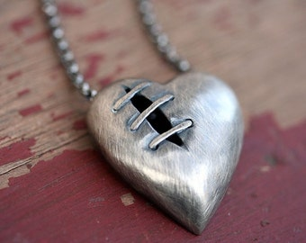 Sutured Heart Necklace Silver Free Domestic Shipping