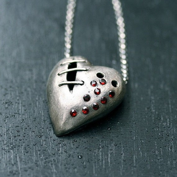 My bloody valentine sutured heart necklace sterling silver garnet No. 26
