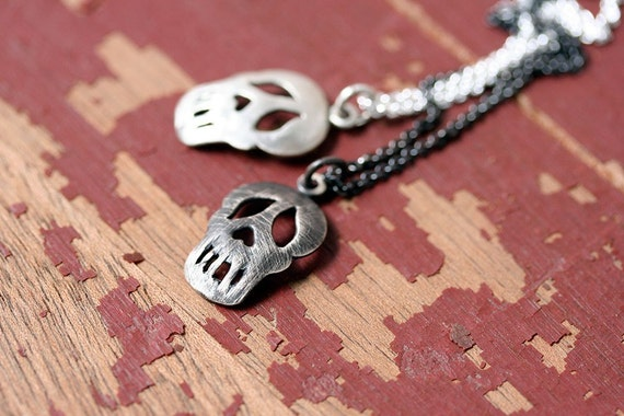 Sale Happy phantom skull pendant oxidized sterling silver
