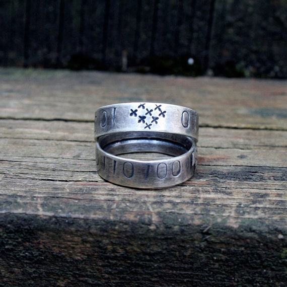 Computer love ring binary sterling silver