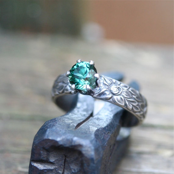 Enchanted forest ring sterling silver and topaz