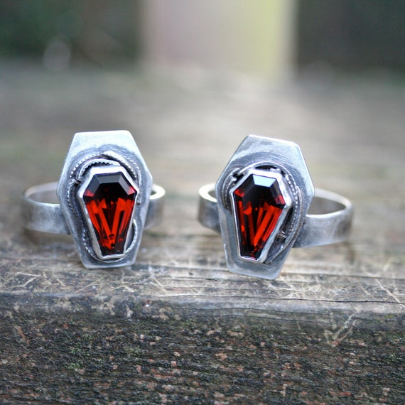Two Custom color True Blood gemstone coffin rings sterling silver