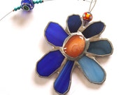 Stained Glass Suncatcher Flower - Carnelian Passion - from Israel