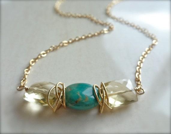 Laguna Necklace with Turquoise and Lemon Quartz