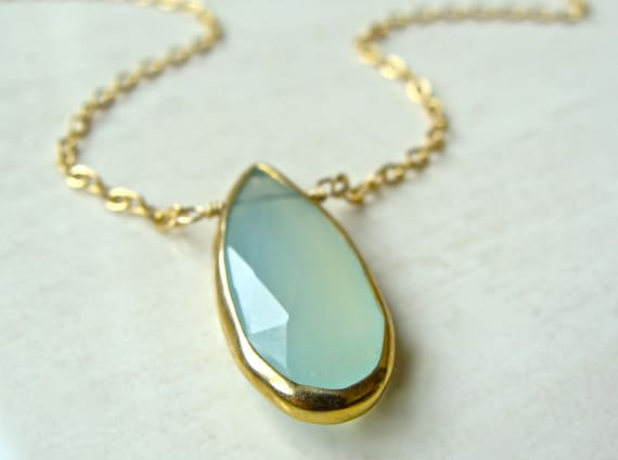Rialta Necklace with Aqua Chalcedony