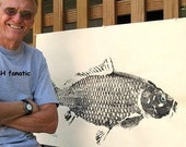 Colosal Carp Original GYOTAKU Fish Art Rubbing on Heavy TAN stock Most popular large fish with beautiful detail